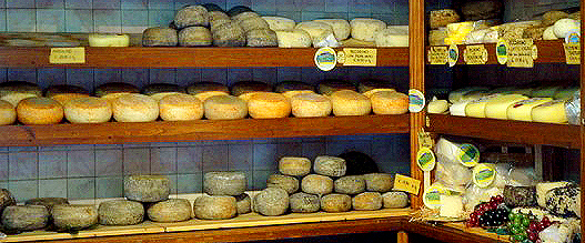 Authentic italian Cheese shop in the Tuscany region
