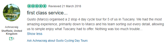 4 day Tuscany cycle tour review