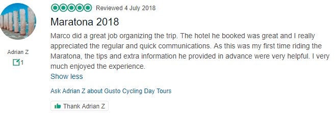 Maratona 2018 Trip Adviser Review