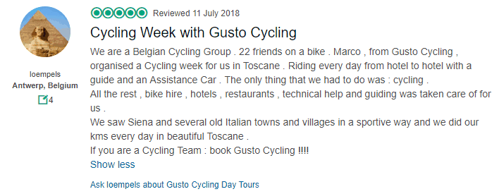 Tuscany Cycle Tour - Belgian Review