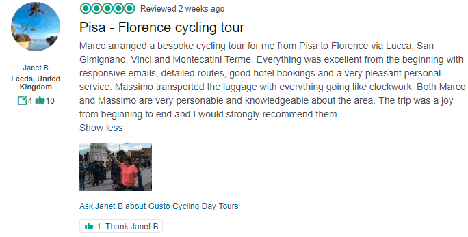 Pisa to Floerence Cycle Tour - Gustocycling TripAdviser Review