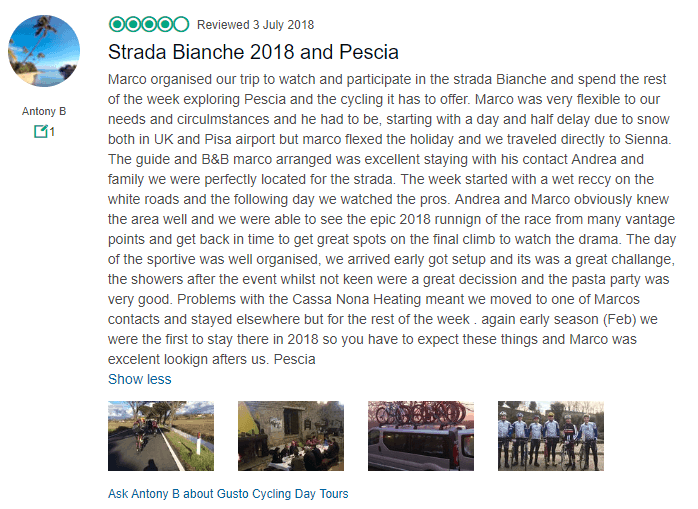 Strade Bianche -  GustoCycling Tripadvisor Review
