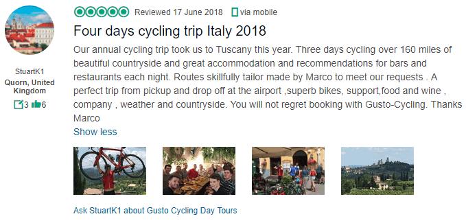 Gusto - 4 Day Tuscany Cycling Tour Testimonial