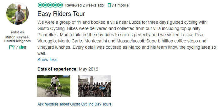 Gusto Cycling Lucca Villa Review
